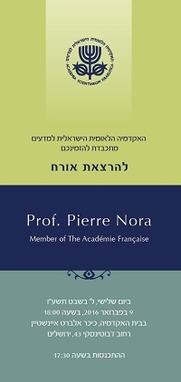 "Guest Lecture | Prof. Pierre Nora on ""Memory: From Liberty to Tyranny"""