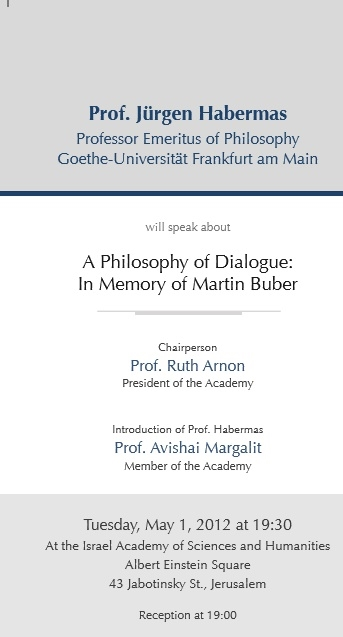 The First Annual Lecture In Memory of Prof. Martin Buber - Prof. Jürgen Habermas