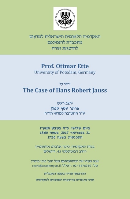 "Guest lecture: Prof. Ottmar Ette on ""The Case of Hans Robert Jauss"""