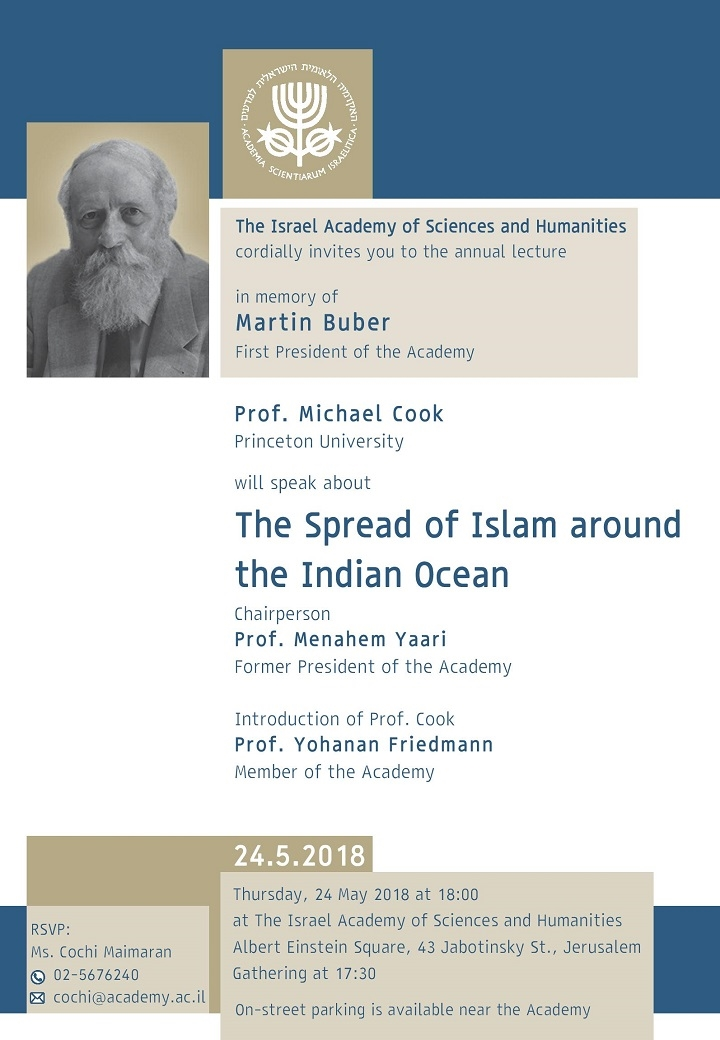The annual lecture in memory of Martin Buber, First President of the Academy - Prof. Michael Cook