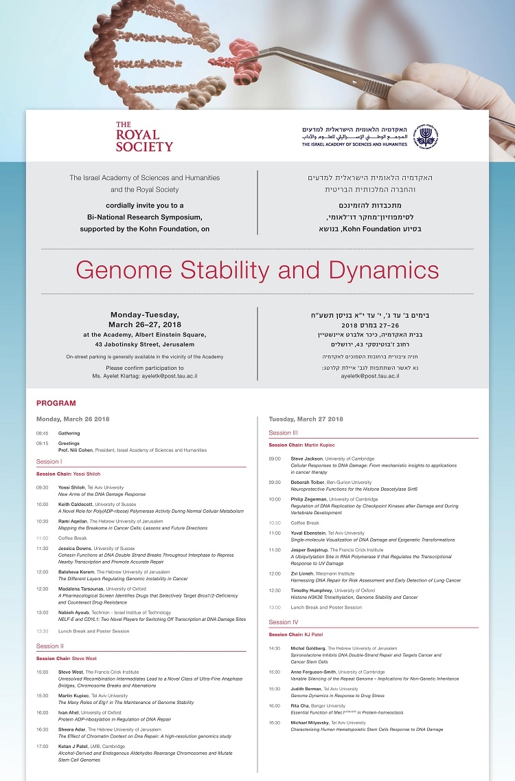 Bi-National Research Symposium, supported by the Kohn Foundation, on Genome Stability and Dynamics