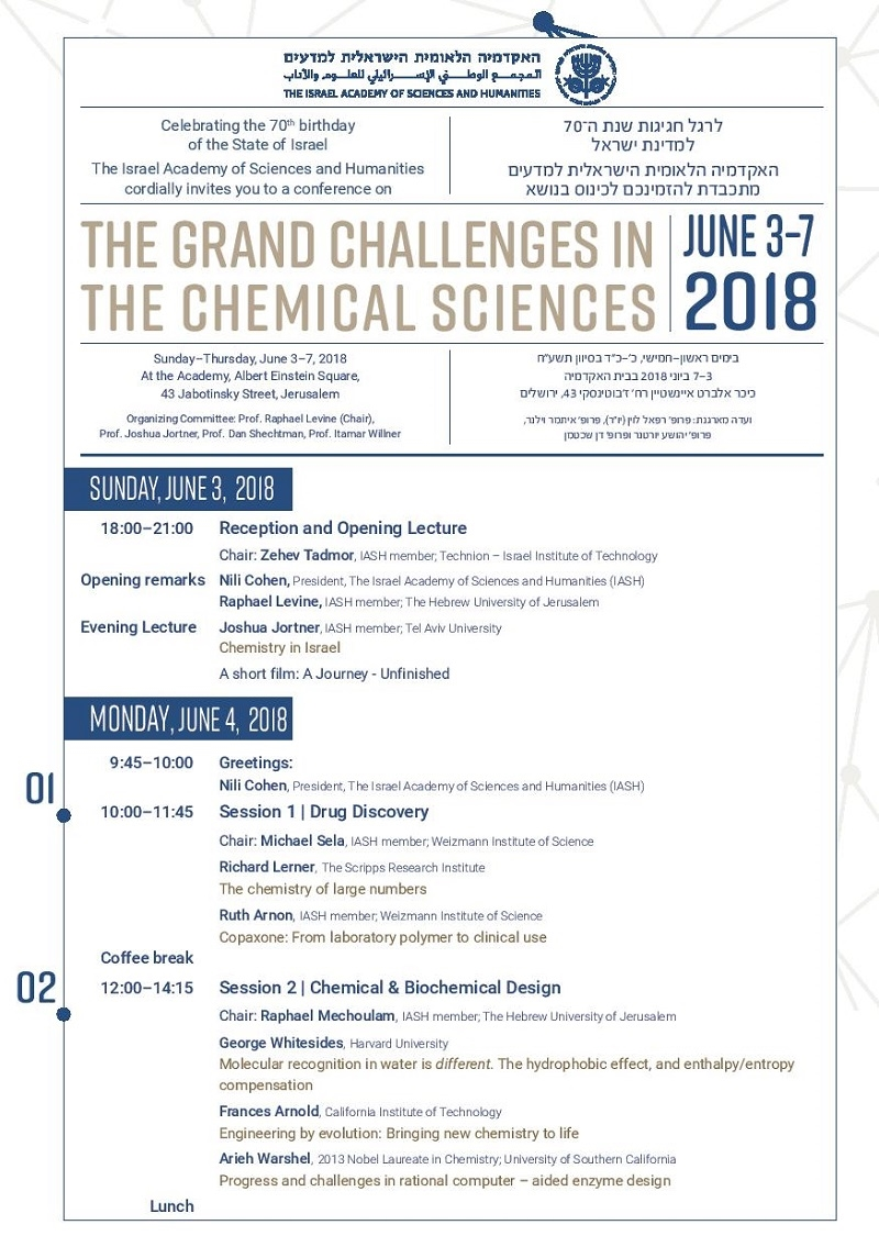 A Conference Celebrating the 70th Birthday of the State of Israel: The Grand Challenges in the Chemical Sciences